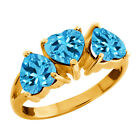 3.00 Ct Heart Shape Swiss Blue Topaz Gold Plated Sterling Silver 3-stone Ring