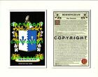 BERESFORD to BLACKBURN Family Coat of Arms Crest + History - Mount or Framed