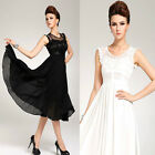 WOMEN'S VINTAGE SLEEVELESS LACE CHIFFON LONG MAXI RUFFLE EVENING BALL GOWN DRESS