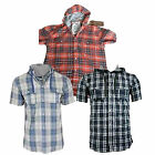 Mens FCUK French Connection Hooded Short Sleeve Check Shirt Sizes S-XL Official