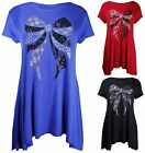 Womens New Sequin Lace Bow Ladies Short Sleeve Dip Hem Top T-Shirt Top Plus Size