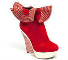 Lady Couture Women's Venice Rhinestone Studded Wedge Platform Ankle Boots Red