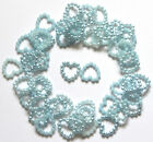 50 Small Pearl Effect Beaded Hearts Card Making Craft & Wedding Table 11mm