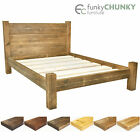 Bed Frame Chunky Solid Rustic Wood with Headboard and Storage Room All Sizes