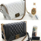 New POPKORS 329 Women Medium Quilted Chain Shoulder Bag Cross Body Bag Handbag