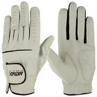 New Mens Cabretta Leather Golf Gloves Soft White Black Lycra Left Hand Regular