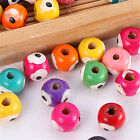 200/1000pc Wholesale Wood Round Loose Spacer Bead Eyes Printed Jewelry DIY 7x8mm