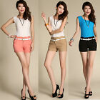 CuteFashion Korean Style Girls OL High Waist Pencil Casual Shorts Hot Pants+Belt