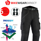 Mens Black Textile Waterproof CE Armoured Motorbike Motorcycle Trousers / Pants