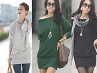 Women's Off-Shoulder Long Sleeve Zip Batwing OL Slim Mini Dress Tops T-Shirt