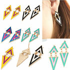 1 Pair Gothic Punk Geometric Triangle Tassel Alloy Ear Dangle Stud Earrings