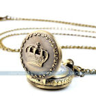 Mini Vintage Bronze Tone Women Men's Pocket Chain Quartz Pendant Watch Necklace