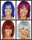 Ladies Tinsel Wig Disco Christmas Party Fancy Dress ALL METALLIC COLOURS