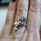 3D Owl Ring - 925 Sterling Silver - Wise Bird of Prey Hoot Perched Owls NEW