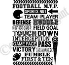 Football M.V.P. Sports Nut Vinyl Decal Wall Sticker Words Lettering Teen Room