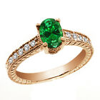 1.57 Ct Oval Green Created Emerald White Diamond 14K Rose Gold Ring