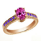 1.40 Ct Oval Pink Created Sapphire Purple Amethyst 14K Rose Gold Ring