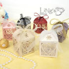5cm Heart Laser Cut Favour Pearlised Boxes & Ribbon Ties Wedding Banquet Colours