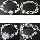 SILVER PLATED SHINE Multi-Style Link Chain Fit Clip On  Bracelet Free Shipping