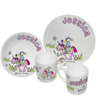 PERSONALISED DINNER SET GIRLS PONY, BOYS FOOTBALL Birthday Christmas Unique Gift