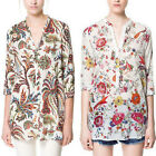 WildbirdsWomen's Long Sleeves with Flower Print Top Shirt Blouse With V Neckline