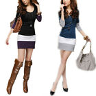 Women Sweet Long Sleeve Stitching T-Shirt Blouse Mini Dress M1677