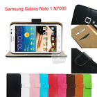 F Leather Wallet Skin Case Cover Stand Pouch For Samsung Galaxy Note 1 LTE N7000