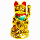 """BNWT 4.5"""" Milano Chinese Feng Shui Golden Waving Fortune/ Lucky Cat Best Gift"""