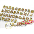 Personalised DIY GOLDEN Crystal Names Letters Numbers Leather Keyring Key ring