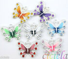 5/20/50Pcs New Silver Plated Enamel Rhinestone Crystal Butterfly Charms Pendant