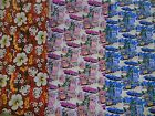 """FUN 50'S FABRIC polyester white flowers/faux wood violet cars blue cars 58"""" wide"""
