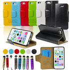 PU Leather Wallet Case Cover Stand For 2013 NEW iPhone 5C + Film + Stylus pen