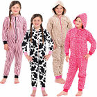 Girls Animal Print All In One Pyjamas Jump Sleep Suit Onesie PJs Nightwear Kid