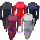 Ladies Rihanna Cold Shoulder Cut Out Long sleeve Polo Turtle Neck Bodycon dress