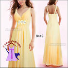 V-Neck Yellow Rhinestone Chiffon Empire Line Long Evening Bridesmaid Dress 8-18