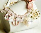 Vogue Pirate Ship Anchor Bead Crystal Natural Shell Bracelet with Beauty Bowknot