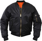 Black Military Air Force MA-1 Reversible Bomber Coat Flight Jacket