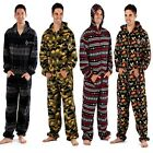 Mens Hooded Onesies All In One Fleece Pyjama Sleepsuit Onesie 4 Styles 8 Colours