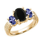 2.53 Ct Black Onyx Blue Tanzanite 925 Yellow Gold Plated Silver 3-Stone Ring