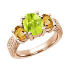 2.45 Ct Yellow Lemon Quartz Citrine 925 Rose Gold Plated Silver 3-Stone Ring