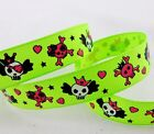 Free shipping 5 Yards 5/8'' 15mm Skull printed Grosgrain Ribbon