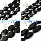 "oval natural black agate onyx gemstone loose beads strand 15"" jewelery making"