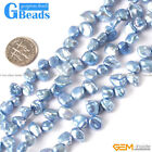 6-8x10-12mm coin freeform natural freshwater pearl loose beads strand 15""