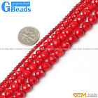 "Round Faceted Red Coral Beads Jewelry Making Gemstone Loose Beads 15"" GBeads"