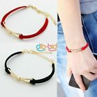 Cute Charm Bow Leather Rope Gold Plated Infinity Bracelet Bridesmaid Love KZUK