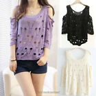 Hot Cut Out Shoulder Ripped Knit Asymmetrical Short Sleeve Sweater Cover Up SP13