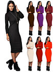 WOMEN'S POLO TURTLE NECK FULL SLEEVES STRETCHABLE BODYCON MIDI DRESS TOP UK 8-14