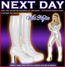 WHITE # 60s 70s FANCY DRESS GOGO PLATFORM BOOTS