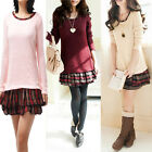 New Women Girl  Long Sleeve Stitching Dress Sweater School Style Slim Shirt Top
