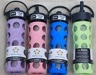 Lifefactory Glass Water Beverage Bottle Silicone Sleeve PICK COLOR 16 STRAW CAP image